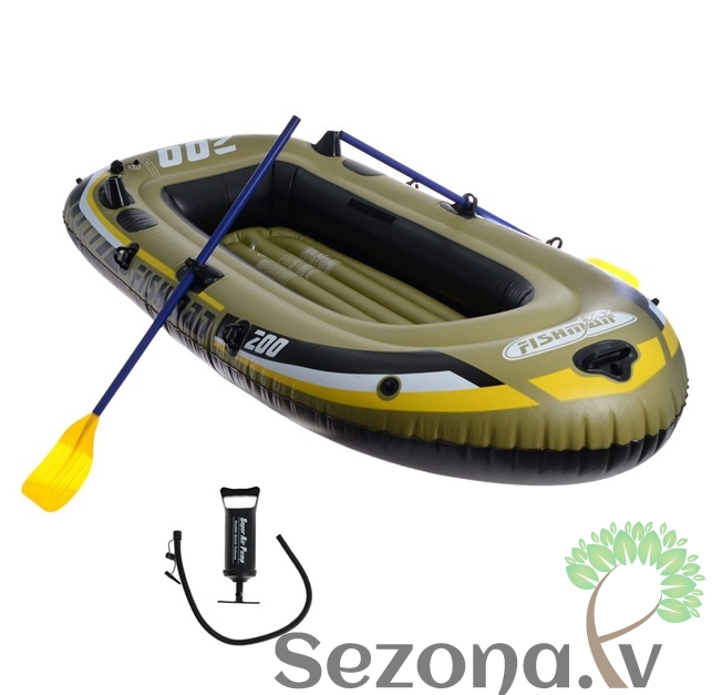 лодка надувная relax fishman 200 set весла+насос jl007207-1n